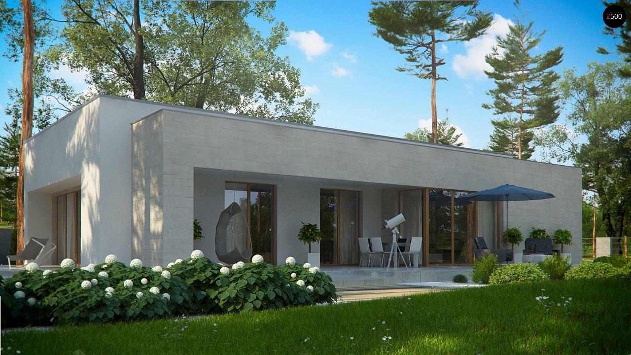 Одноэтажный дом в современном стиле, с большими застекленными окнами 11
