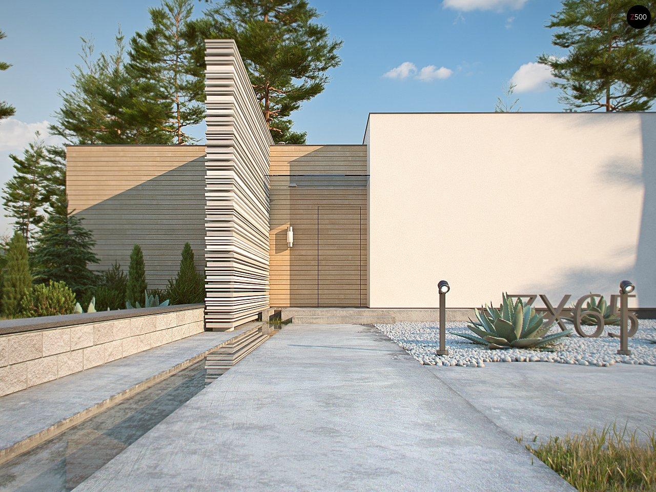 Одноэтажный дом в стиле хай-тек с плоской кровлей и большой площадью остекления. 3