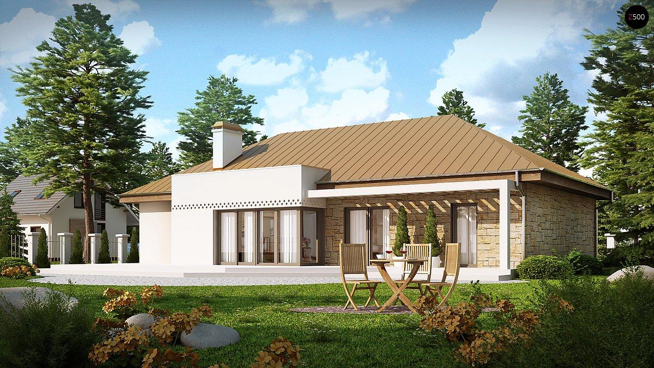 Проект одноэтажного дома с гаражом, с четко выделенной приватной зоной. 3