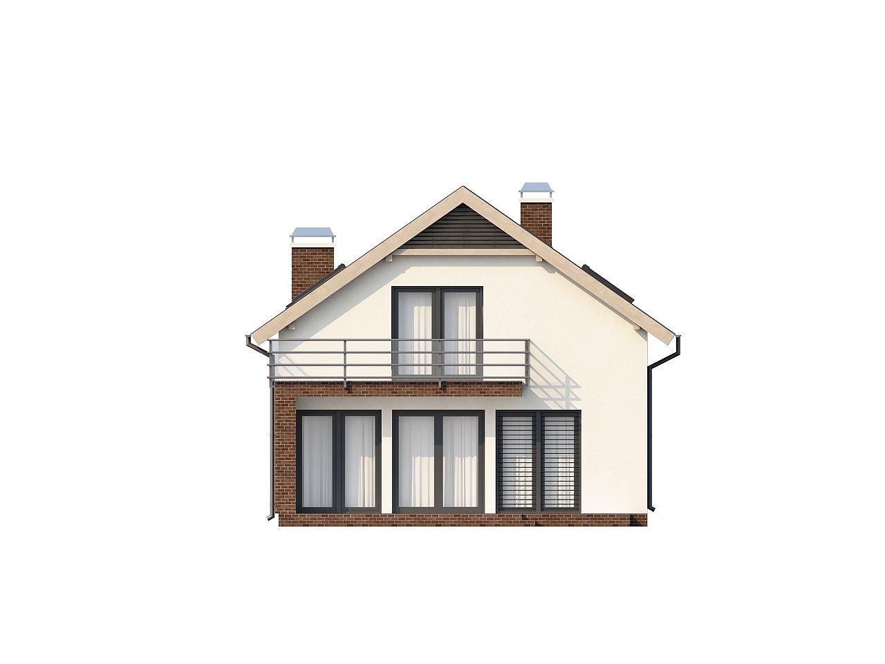 Дом в традиционном стиле с мансардой, со встроенным гаражом, подходящий для узкого участка. 4