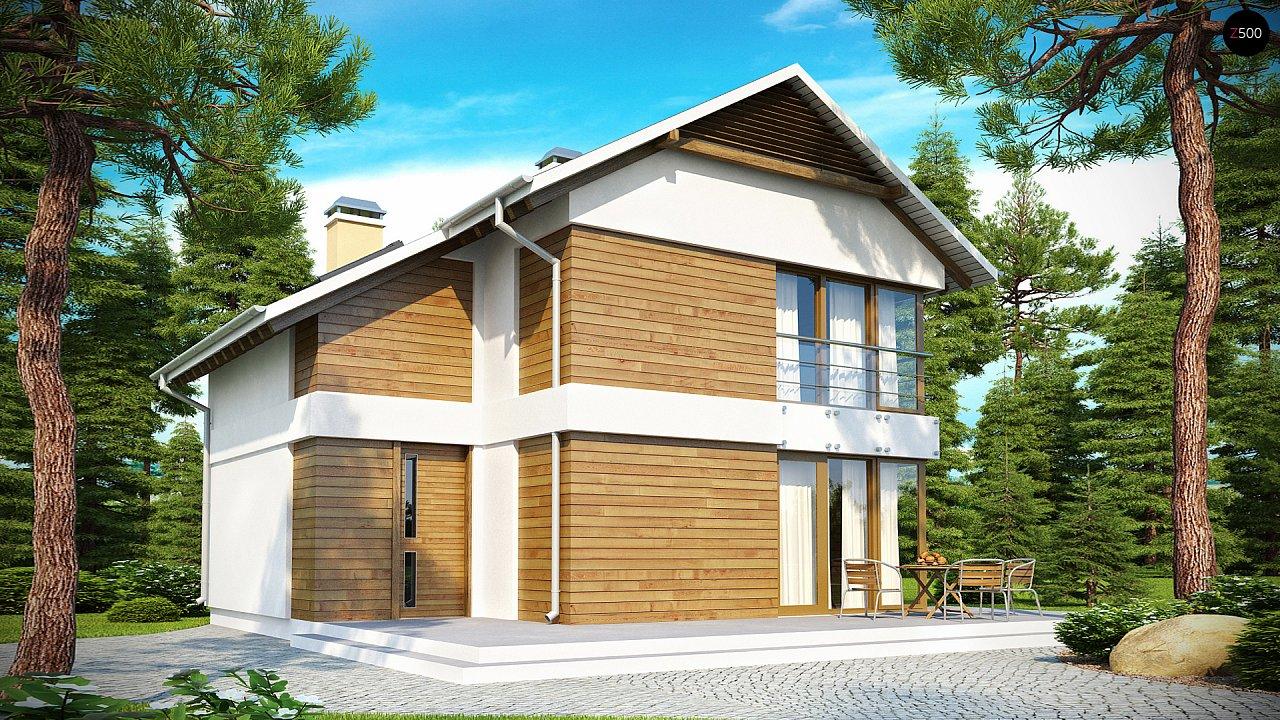 Компактный двухэтажный дом с большими окнами, подходящий для узкого участка. 2
