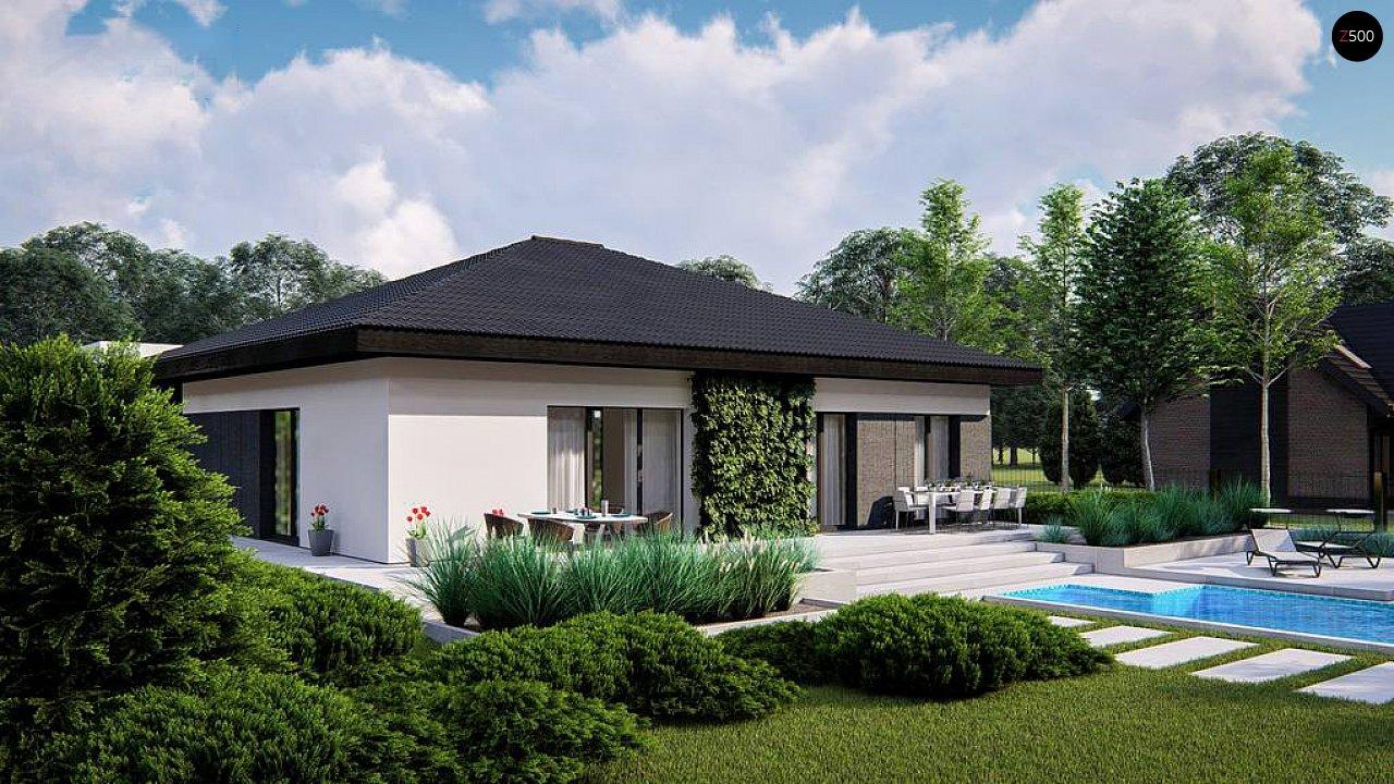 Функциональный одноэтажный дом с гаражом на одну машину, расположенный в центральной части переднего фасада. 4