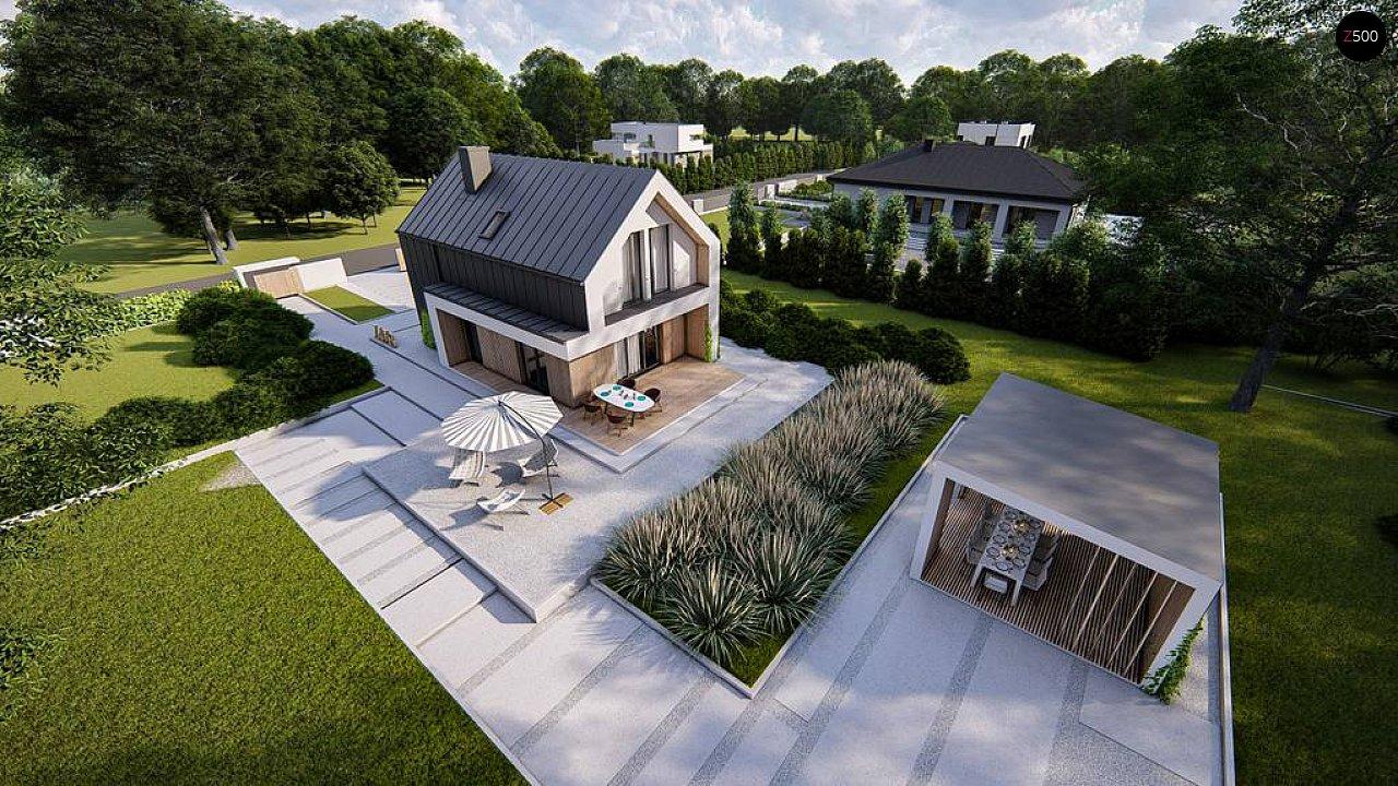 Проект одноэтажного дома с двускатной крышей для небольшого участка 5