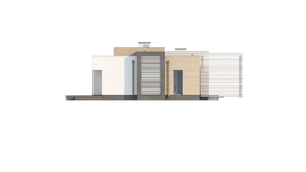 Одноэтажный дом в стиле хай-тек с плоской кровлей и большой площадью остекления. 33