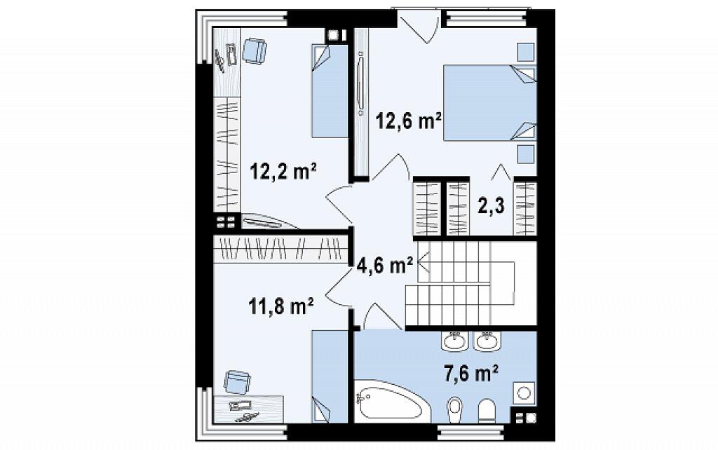 Компактный дом в стиле современного кубизма с тремя спальнями. план помещений 2