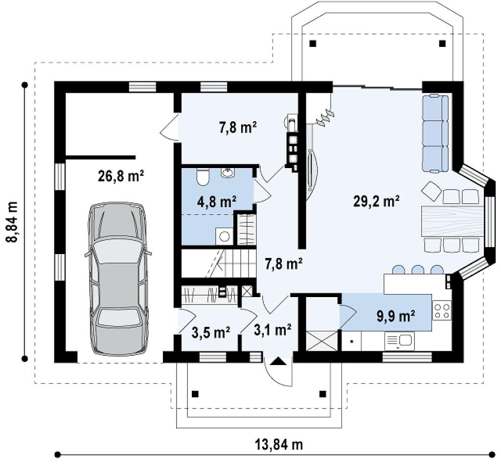 Элегантный дом простой формы со встроенным гаражом, эркером и балконом над ним. план помещений 1