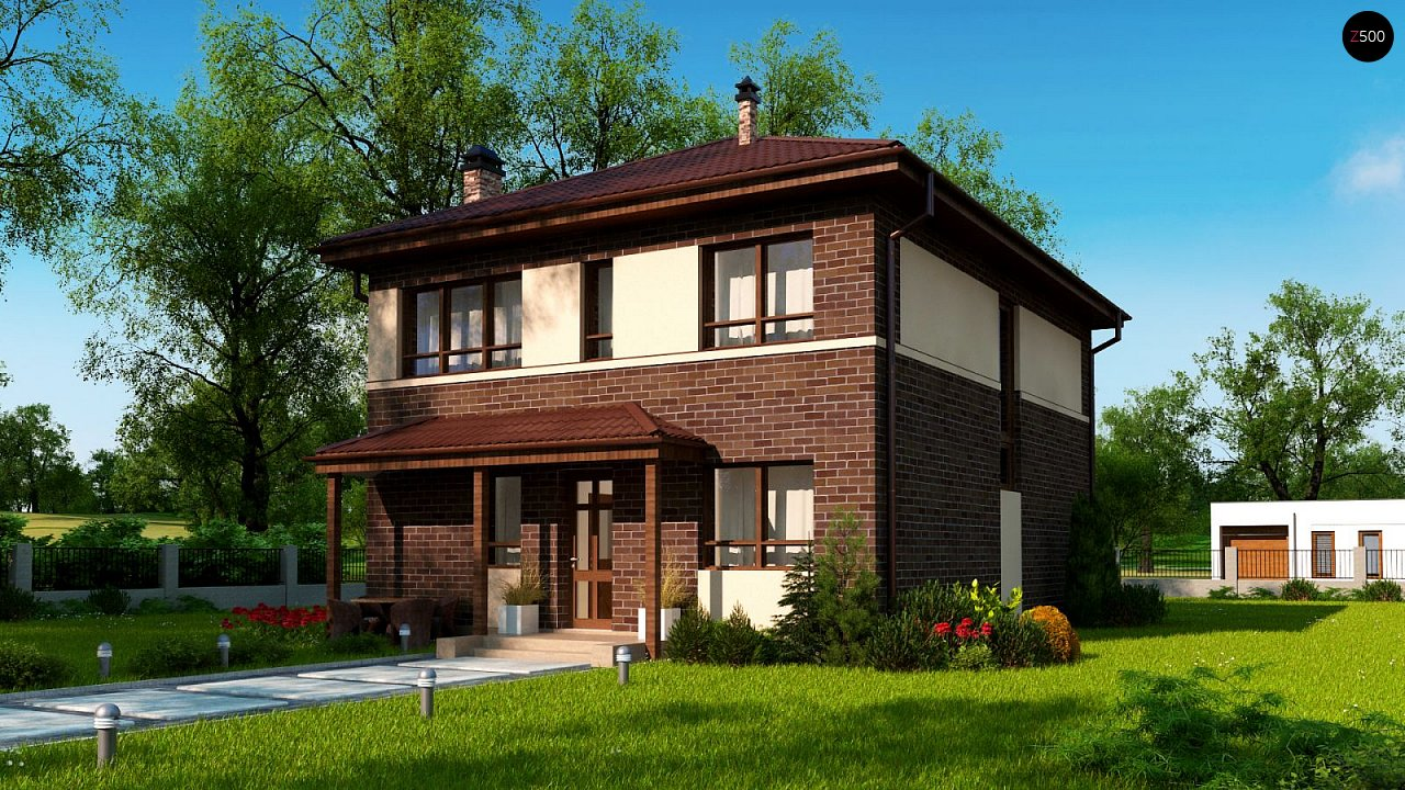Двухэтажный дом традиционного дизайна 1