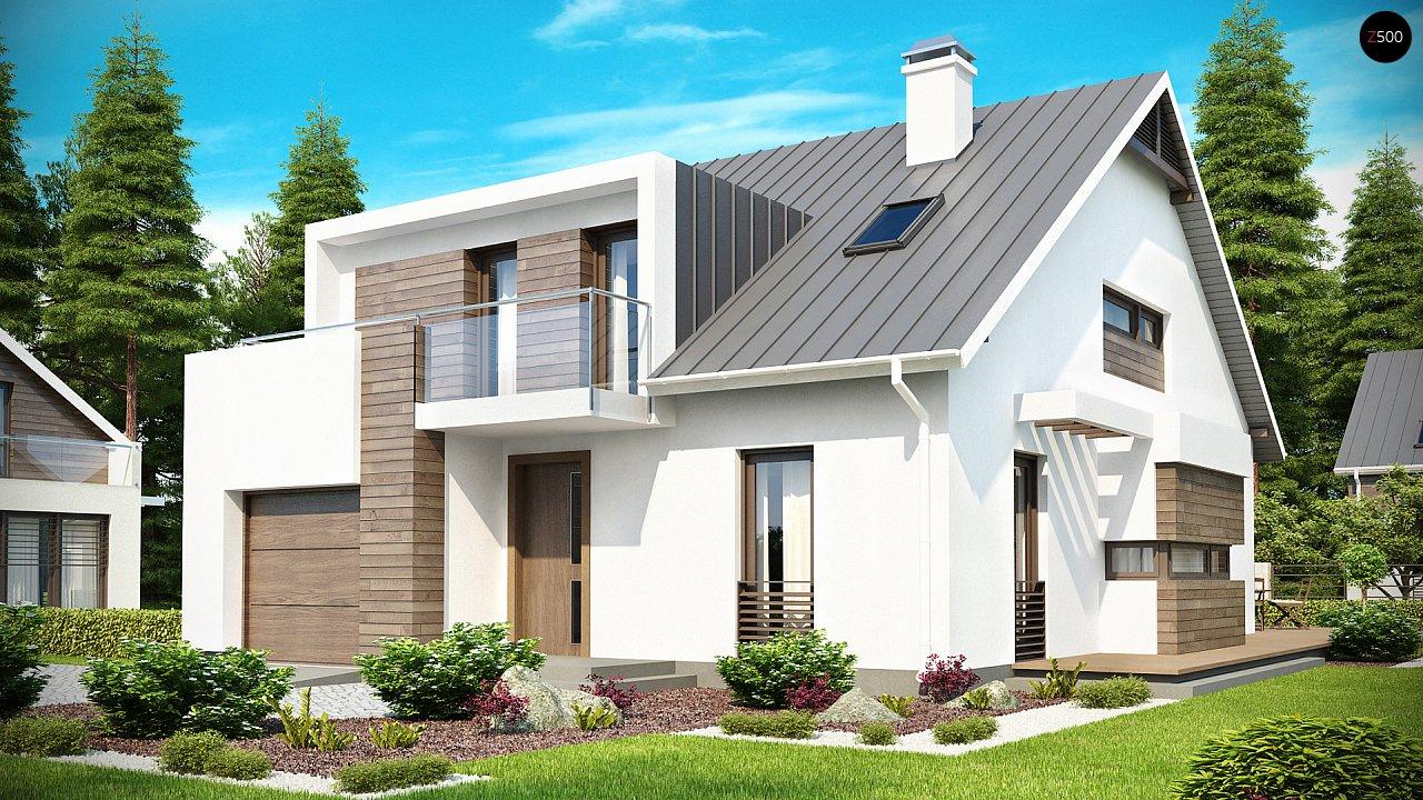 Стильный комфортный дом современного дизайна со встроенным гаражом. 1