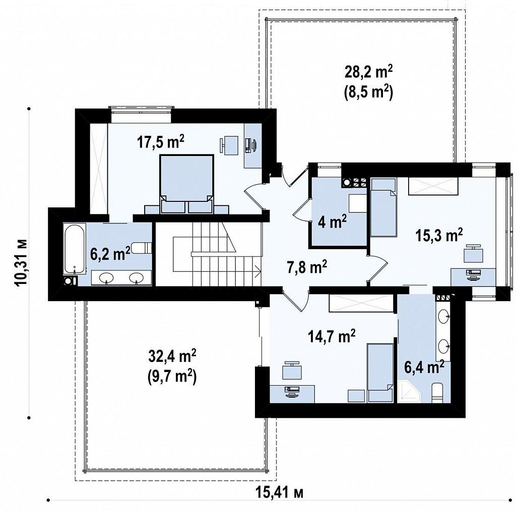 Двухэтажный дом в стиле минимализм - вариант проекта ZR 17 план помещений 2