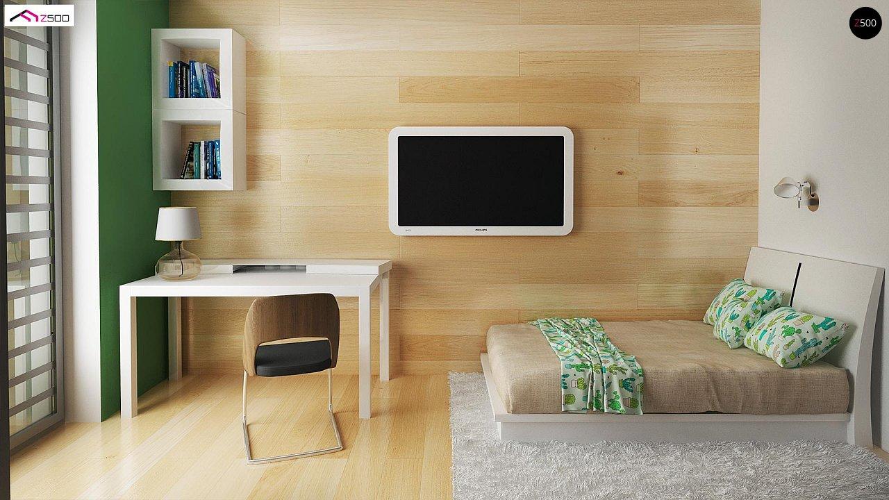 Стильный одноэтажный дом с панорамным остеклением в гостиной - фото 13