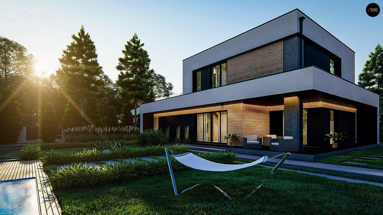 Cовременный двухэтажный дом с плоской крышей и гаражом на две машины. 8