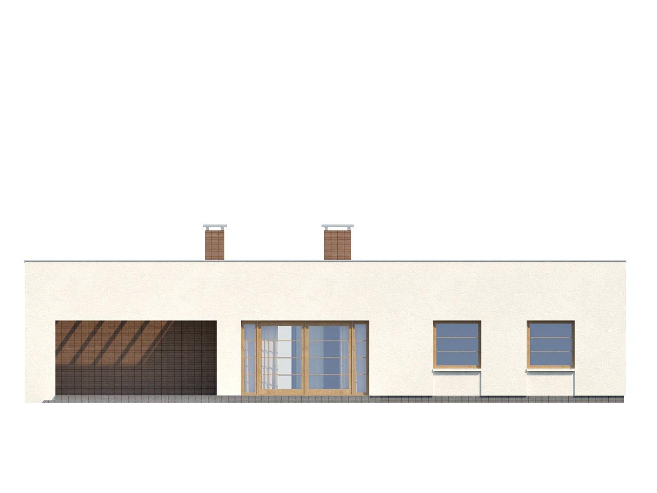 Одноэтажный дом с плоской крышей, со светлым функциональным интерьером и гаражом. 5
