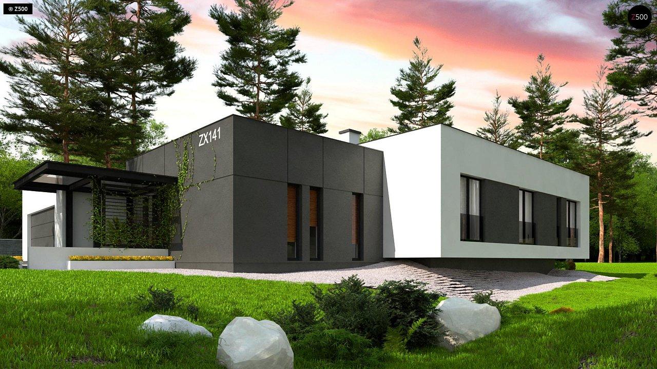 Проект современного одноэтажного дома с плоской кровлей. - фото 5