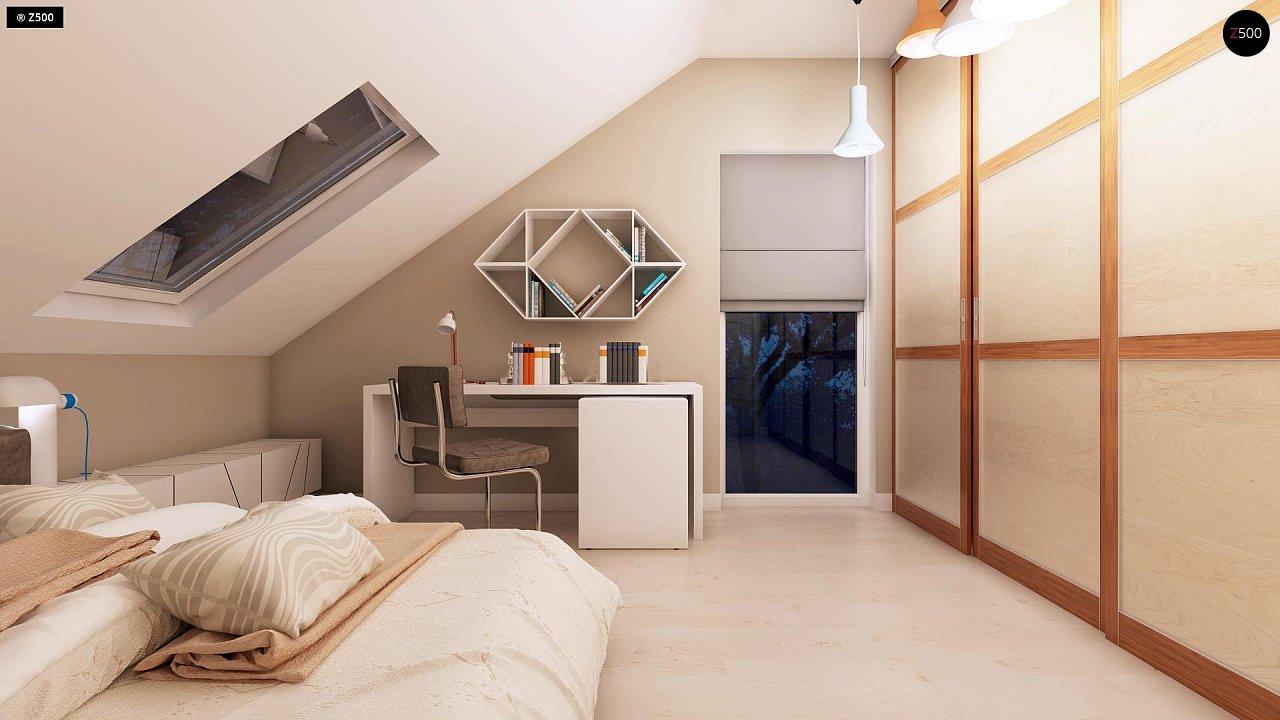 Компактный дом с мансардой, эркером в дневной зоне и c кабинетом на первом этаже. 18