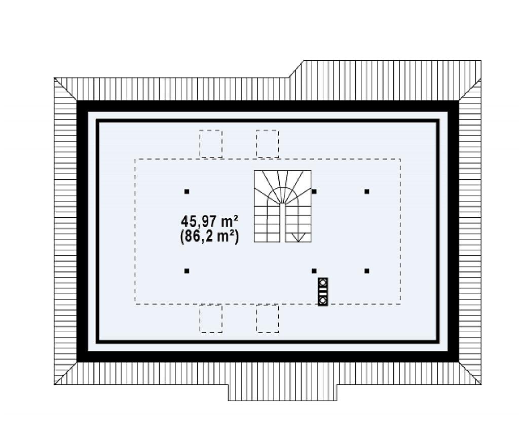 Одноэтажный дом в традиционном стиле с возможностью обустройства чердачного помещения. план помещений 2