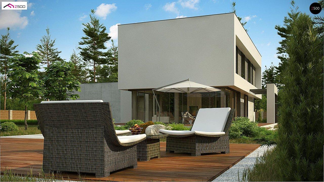 Современный двухэтажный дом с просторной террасой и гаражом на две машины. - фото 6