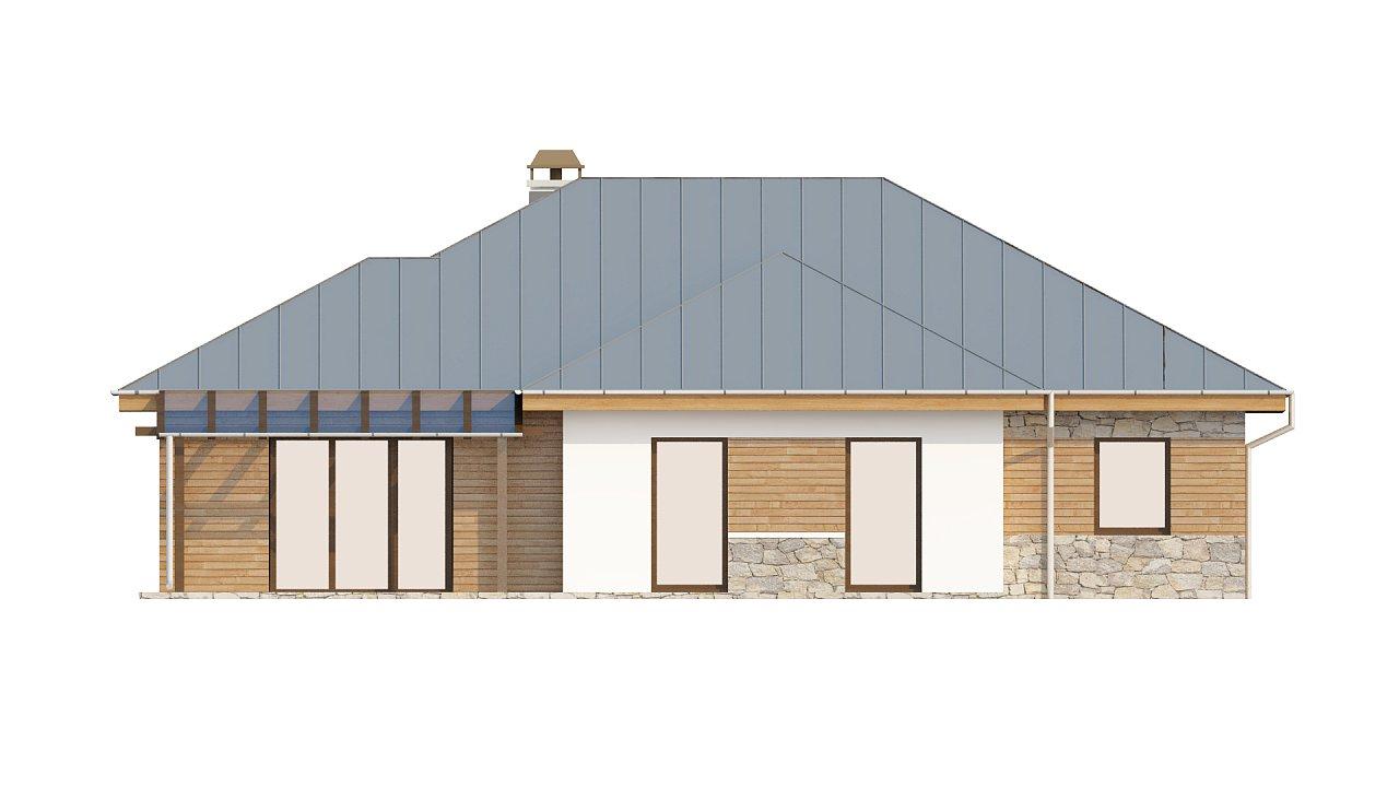 Стильный одноэтажный дом с гаражом для двух автомобилей. 5