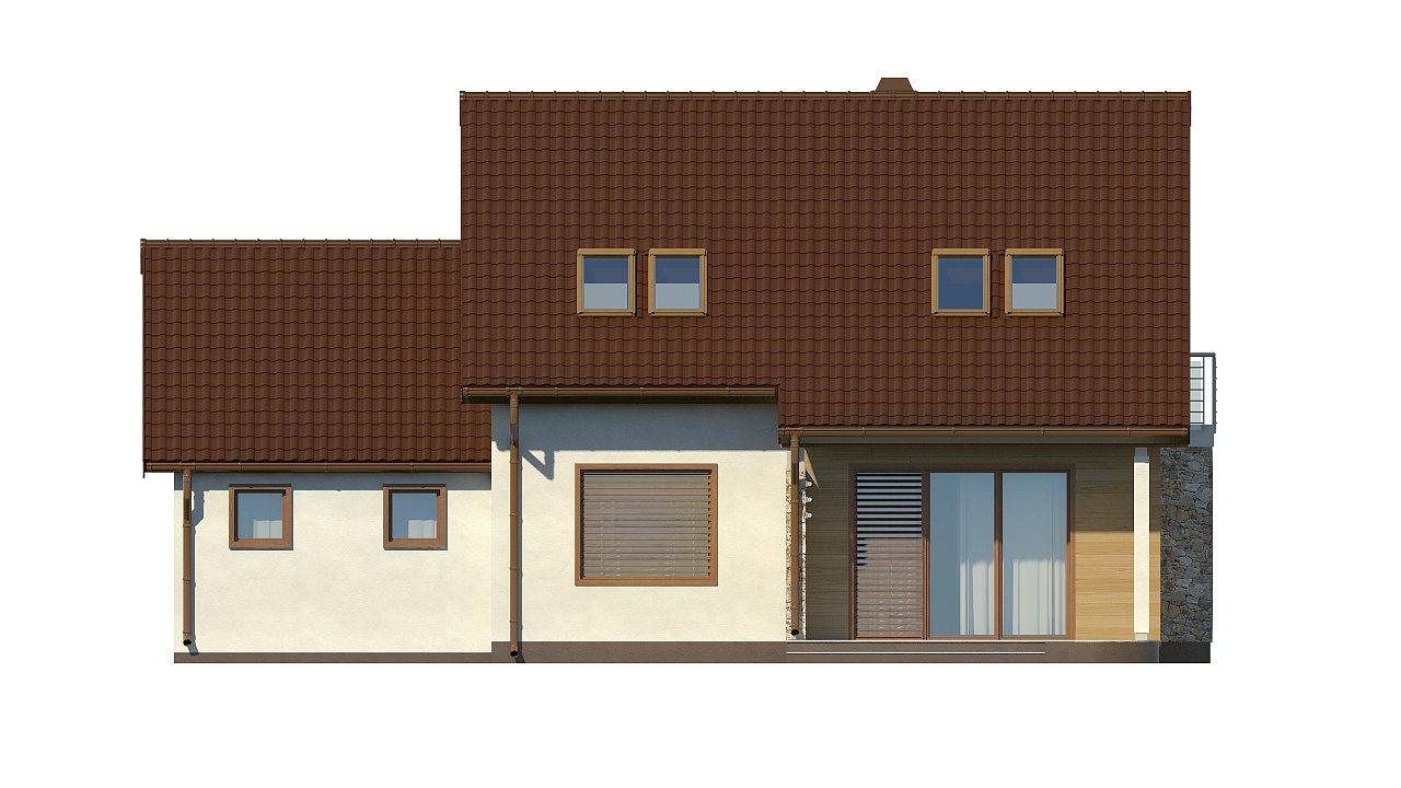 Версия проекта дома Z102 с гаражом, пристроенным справа. 22