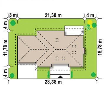 Версия проекта Z10 с гаражом для двух машин с левой стороны. план помещений 1
