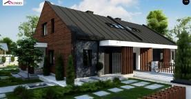 Современный двухсемейный дом с двускатной крышей