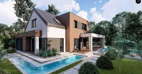 Дом с двускатной крышей, современным мансардным этажом, боковой террасой и гаражом.