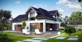 Комфортабельный дом с интересными фасадными окнами, с гаражом на два авто.