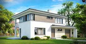 Двухэтажный современный дом с многоскатной низкой крышей, с гостиной с фронтальной стороны.