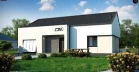 Проект одноэтажного дома Z390 с гаражом на 1 машину и красивым белым фасадом