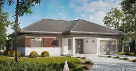 Проект одноэтажного дома с выделенной дневной зоной и большой террасой.
