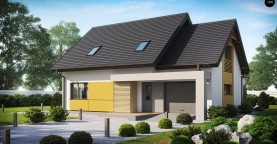 Проект аккуратного мансардного дома, с современным дизайном фасадов.