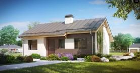 Простой и недорогой в строительстве одноэтажный дом небольшой площади.