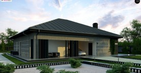 Проект дома с одноуровневой оригинальной планировкой и современным экстерьером.