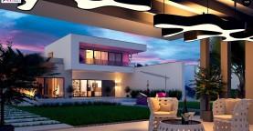 Стильный современный проект двухэтажного дома, подходит для строительства на участке со склоном.