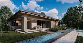 Современный одноэтажный проект дома с многоскатной крышей и гаражом на две машины