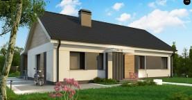Проект одноэтажного дома с 4 спальнями и двускатной кровлей