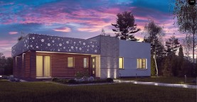Функциональный одноэтажный дом в современном стиле с плоской кровлей.