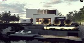 Проект двухуровневого дома в современном стиле с несколькими террасами, гаражом и навесом.