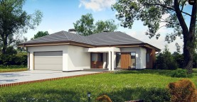 Одноэтажный дом с многоскатной крышей, с удобным функциональным интерьером.