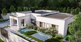 Современный и элегантный одноэтажный дом с плоской крышей
