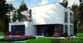 Двухэтажный дом в стиле минимализм - вариант проекта ZR 17
