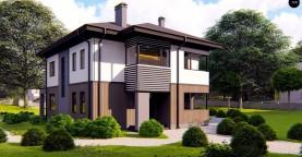 Проект двухэтажного просторного дома с панорамными окнами и камином.