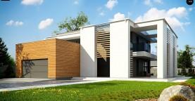 Современный двухэтажный дом с большим остеклением и гаражом на две машины