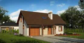 Версия проекта дома Z71 с гаражом, пристроенным слева.