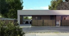 Современный одноэтажный дом хай-тек с навесом для автомобиля