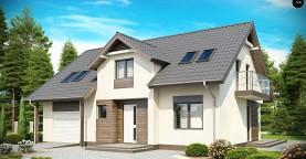 Традиционный дом со встроенным гаражом, мансардными окнами и большим хозяйственным помещением.