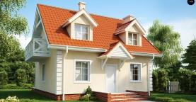 Компактный дом в традиционном стиле с двускатной крышей и красивыми мансардными окнами.