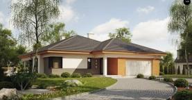 Одноэтажный просторный дом с эркером и крытой террасой.