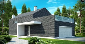 Современный эксклюзивный дом с каменной облицовкой, подходящий для узкого участка.
