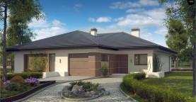 Проект одноэтажного дома с многоскатной крышей и гаражом на одну машину.