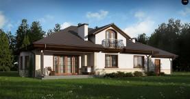 Версия проекта Z10 с гаражом с левой стороны, мансардой и балконом.